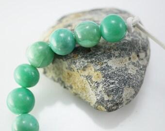 Gemstone Bead Round Big Hole Bead Green Stone Beads Green Agate (9) X202