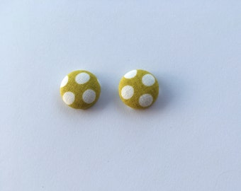 White Polka Dot on Mustard Fabric Button Earrings