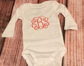Monogrammed Baby girls bodysuit onesie, baby shower gift, monogrammed baby shower gift, monogrammed onesie, embrodiered onesie