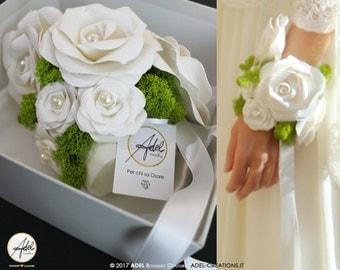 BRACELET BOUQUET_ Paper Bouquet paper roses Made to order custom Wedding Bouquet Bridal Bouquet Eco Bouquet  Ivory Bouquet Green Bouquet