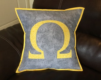 Beautiful Silver and Yellow Omega / God of War Throw Pillow