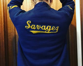 Vintage letterman cardigan blue and yellow savages M