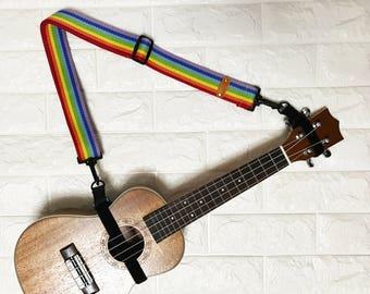 """NuovoDesign """"Hope"""" Rainbow Multi-function ukulele uke strap with velcro, USER FRIENDLY, NO need drilling hole."""