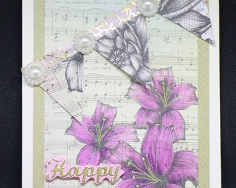 Happy Birthday, Greetings Card, Birthday Card, flowers, vintage
