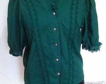 1970s green peasant gypsy blouse size 38