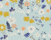 Art Gallery Voile Fabric, Light Weight Cotton, Central Park Breeze in VOILE Gramercy by Leah Duncan, Blue Floral Voile, Orange Floral Voile