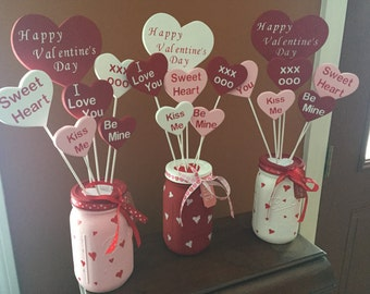 Valentine Wooden Heart Flower Bouquet with Mason Jar Vase