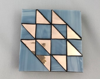 Quilt block stained glass coaster
