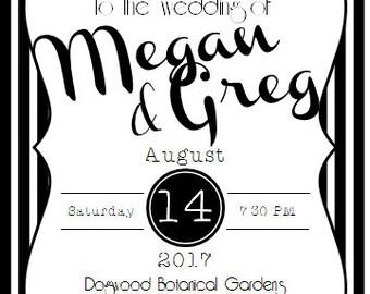 Black & White Stripe Wedding Invitation Set