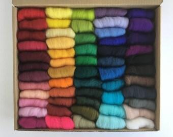 Felting Wool Set Complete Set - 57 colors of South American Merino Wool Top/Roving (5 g each) app. 10 oz total