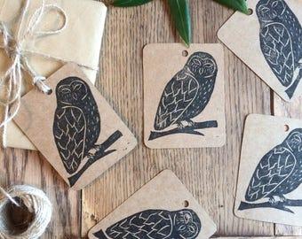 Owl gift tags - handmade & hand printed