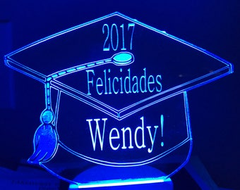 Custom Lighted Graduation / Wedding Cake Topper with Color Changing Base!!