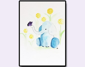 "Elephant Nursery Art, Safari Animal Art, Dandelion Wall Art, Kids Room Art, Original Nursery Art, Elephant and Butterfly, 5""x7"""