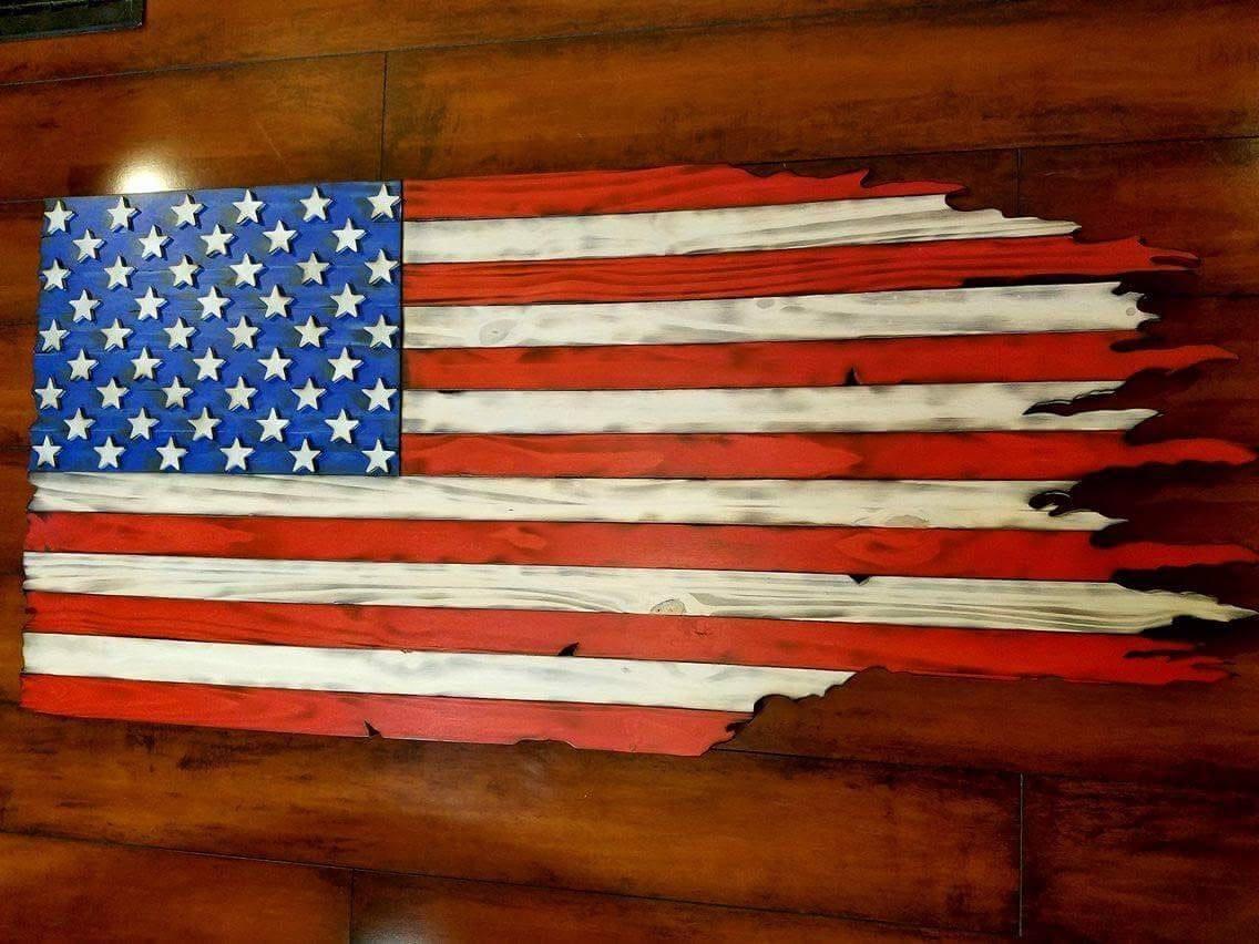 Wood Flag Tattered Flag Distressed Flag Wood Burned Flag