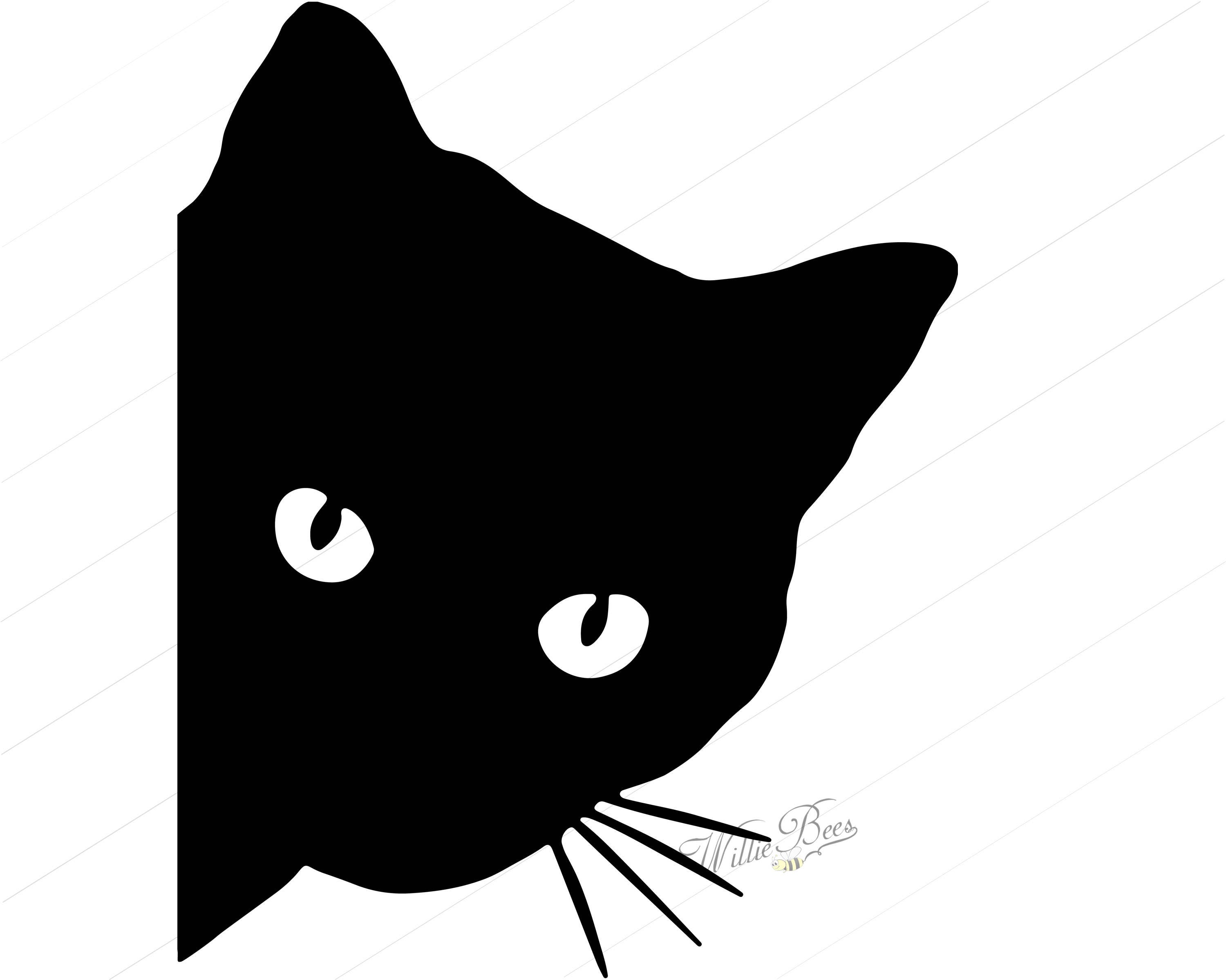 Peeking Cat Around Corner Clipart Feline Cat Svg 12 inches