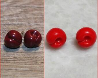 Cherry stud earrings, berry earrings, Fruit jewelry, Fruit earrings, Miniature food jewelry, polymer clay jewelry,earrings with sweet cherry