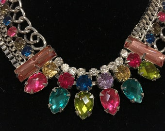 Crystal Rhinestone Rainbow Bib Statement Necklace