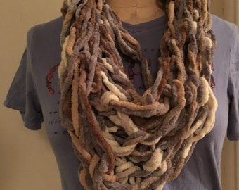 Gray, Taupe and Ivory Yarn Scarf