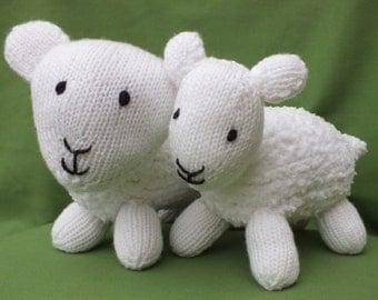 Knitted sheep and lamb, stuffed soft animals, handmade