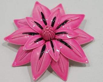 Simply Divine Coro Enameled Pink Flower Brooch