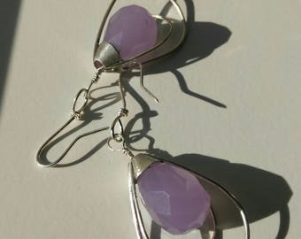 Earrings ~EUREKA~ sterling silver with faceted beads