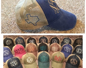 Trucker monogram hat with outline of Texas, monogram hat, texas, texas state, outline of texas, state