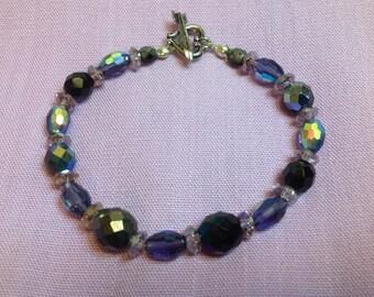 Black Purple and Lavender Bracelet and Earring Set
