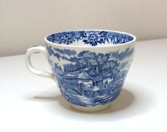 Vintage English Ironstone Flat Cup English Village Salem Blue & White China