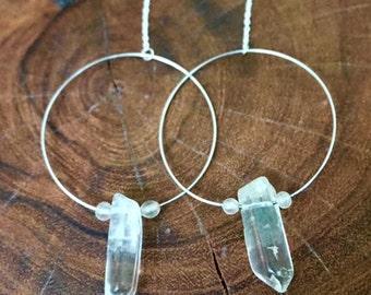 Clear Quartz Crystal Hoop Earrings
