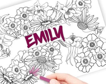 Personalised coloring page, customised with your name, adult coloring pdf