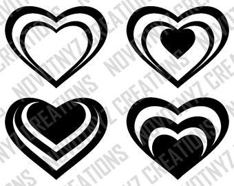 Assorted Hearts SVG, 2 Zip Folders
