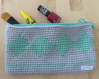 Bag of makeup style ethnic of crochet