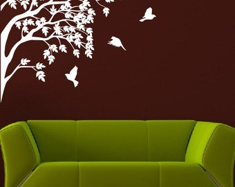 Tree Branches And Flying Birds Nature Vinyl Wall Decal Home Decor a75