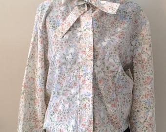 60s Vintage Bowtie Floral Blouse