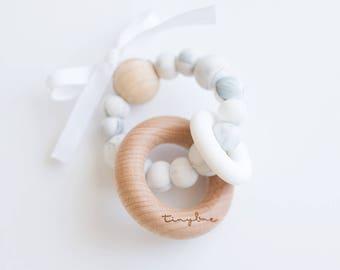 Zee Teething Rattle - Marble