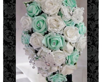 Wedding Flowers Mint & White wedding bouquets with butterflies, Brides, Bridesmaids, Flowergirls etc