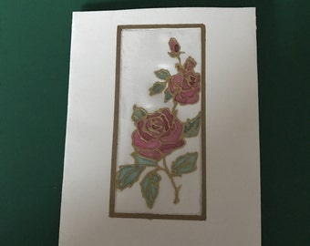 Hand painted silk roses card