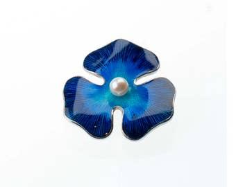Silver flower brooch, violet brooch, pearl flower, silver violet pin, blue flower brooch, enamel, pearl broach, solid sterling silver