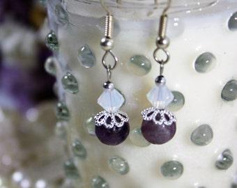 Swarovski Crystal and Amethyst Earrings