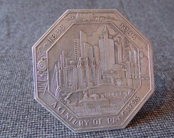 Chicago Century of Progress 1933 World's Fair and Exposition Foil Embossed Hot Pad