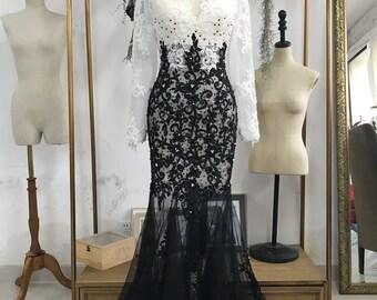 Dark & White Wedding Dress with Airy Tulle Skirt, Boho Wedding Dress, Summer Wedding Dress, Bohemian Wedding Dress, Dress,