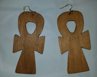 Small Wooded Ankh Earrings