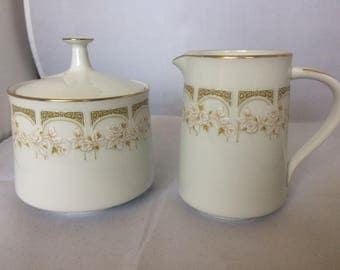"Noritake milk jug and sugar bowl , lidded sugar bowl , floral decoration , fine bone china , dining and serving , home and living , ""sonia"""