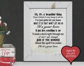 lyrics It's your love Tim McGraw Country Lyrics Song You Print Your Own Digital Art Love Song valentines anniversary wedding lyrics
