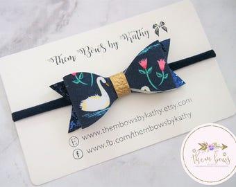 Swan Princess 2.0 felt fabric headband or clip - thin nylon - Swan print, navy blue, gold - newborns, infants, toddlers, girls