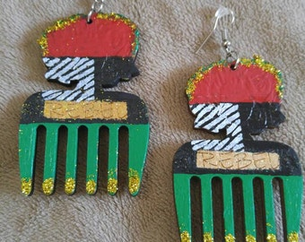 Afro pick,Rebel,Red,Black,Green,RBG,Afrocentric,Queen,Zebra,Hand-painted Earrings