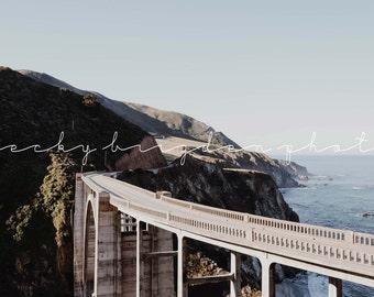 Bixby Bridge Photograph, California, Road Trip, Travel Photography, West Coast, Landscape, USA, Morning, Structure, Sea, Mountain, Fine Art
