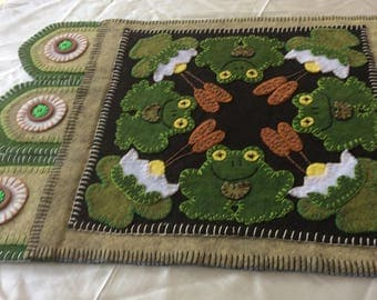 """Wool Felt Applique Table Runner/Table Mat """"Frogs and Lily Pads"""""""