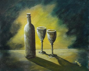 wine bottle and glasses. an original acrylic painting in yellow