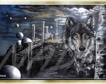 "Reproduction of art (A4) ""Artist NADE"" the Wolf. You can see a video of these works on this link https://youtu.be/Mm84CgyvWO8"